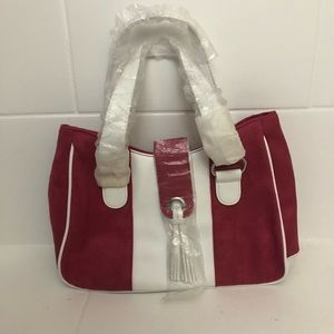 Estée Lauder Pink Suede & White Leather Purse New